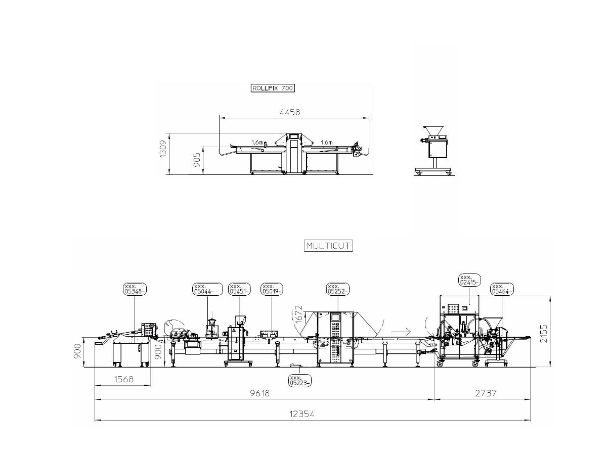 Linija za oblikovanje finega in rustikalnega peciva ter rogličkov Multicut-02